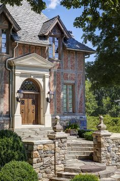 French Normandy Residence Front Door Entry by Charles Hilton Architects