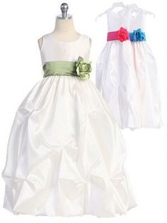 Taffeta flower girl dress with detachable sash. #justuniqueboutique #flowergirldress #tafffetadress #ivoryflowergirldress http://www.justuniqueboutique.com/girls-formal-dresses/solid-taffeta-flower-girl-dress-w-choice-of-sash.html