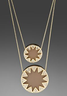 House of Harlow Double Sunburst Necklace in Khaki Leather and Gold