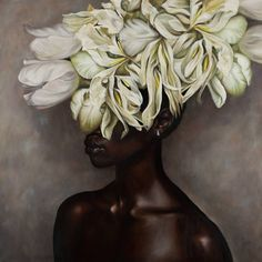 Buy Prints of White flowers on black woman, a Oil on Canvas by Cor Lap from Netherlands. It portrays: Women, relevant to: realism, black, white, woman, portret, black woman, flowers, nude Who is this black woman, hidden behind this bouquet of white flowers? I hope de viewer will see the nice combination of black and white. I have painted it in a realistic way, because it was my intension to create a rich woman with less elements. Only a shiny skin, a diamond earring and a rich bouquet of…