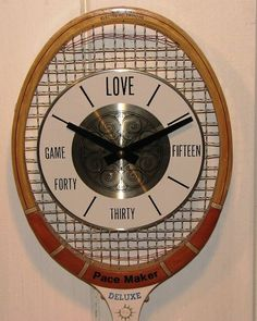 Cool Vintage Wood Tennis Racket Clock! More tennis diy ideas at #lorisgolfshoppe