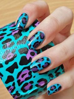 Leopard pattern duck tape nails