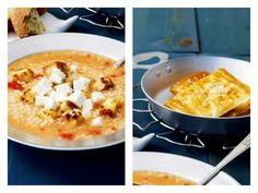 Σούπα τραχανά με ντομάτα και φέτα από το... Feta, Macaroni And Cheese, Breakfast, Ethnic Recipes, Greek Recipes, Morning Coffee, Mac And Cheese