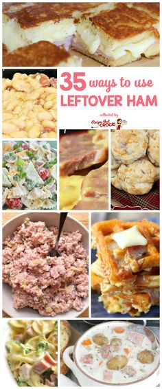 35 Ways to Use Leftover Ham! Great Leftover Ham Recipes like Ham and Beans Cheesy Scalloped Ham and Potatoes Ham Fried Rice Ham Salad Ham Waffles Pasta Salad Casseroles and more! by Read Pork Recipes, Crockpot Recipes, Cooking Recipes, Aloo Recipes, Frugal Recipes, Quick Recipes, Copycat Recipes, Delicious Recipes, Pasta Recipes