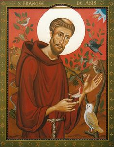 St Francis of Assisi with birds - Aidan Hart Sacred Icons St Francis Assisi, Saint Francis Prayer, Catholic Saints, Patron Saints, Hart Icon, St Aidans, Clare Of Assisi, Colonial Art, St Clare's