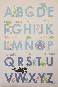 "12""x18"" ""SeaLife"" Handmade Alphabet Poster. $34.99, via Etsy."