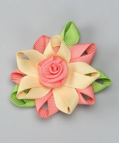 Take a look at this Peach & Lemon Flower Clip by Monkey Loves Bownanas on #zulily today!