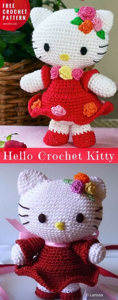 Hello #Kitty #FreeCrochetPattern Crochet → #AmigurumiToy | Written | yarn: thin wool thread hook: number 1 Author: by Larissa (Rosettes)