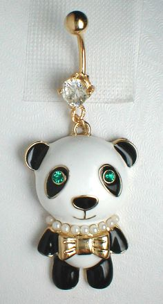 Unique Belly Ring - Panda Bear Pendant On A Belly Ring. $14.95, via Etsy.