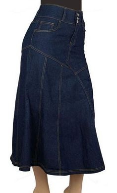 High waist long a line jean skirt with unique stitch work design and button up front. Available in XS-XL and on sale $38.95