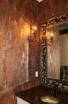 Copper Decor Project Ideas on the Modern Masters Cafe Blog | Metallic Plaster Waterfall Wall Finish by NCF Studio