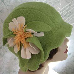 fleece hat wit large flower