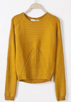 Yellow Geometric Slim Pullover