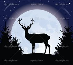 Silhouette Of A Deer Standing On A Hill. Full Moon On The Background. Royalty Free Cliparts, Vectors, And Stock Illustration. Image Vector - Silhouette of a deer standing on a hill. Full moon on the background. Silhouette Painting, Animal Silhouette, Moon Silhouette, Hirsch Illustration, Hirsch Silhouette, Doodle Drawing, Posca Art, Deer Art, Pet Rocks