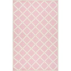 Found it at Wayfair - Trellis Hand-Hooked Pink Area Rug