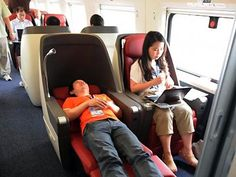 The Shanghai-Beijing High-Speed Railway is a 819 mile journey that used to take more than 10 hours. These days, The Great Wall, Tiananmen Square, Summer Place and the Forbidden City are now only a painless 4 hour train ride away. And look at those reclining seats - here's hoping they have free wifi too :)