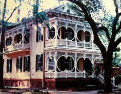 The Gingerbread House in Savannah is now a bridal shop, however, it is located in a Victorian district boasting 50 blocks of fine Victorian and Queen Anne frame houses.