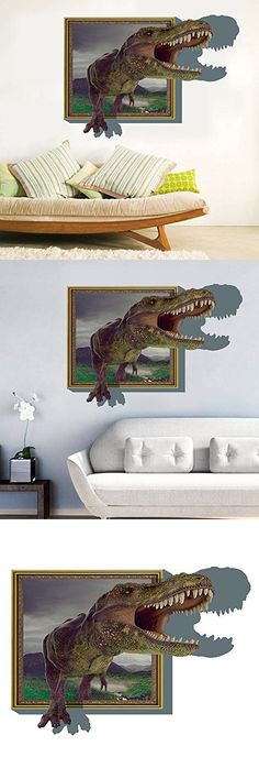 Kaimao Cartoon Creative Wall Decal 3d Mural a Corner of Dinosaur Removable Wall Stickers for Wall and Ceiling Home Decor