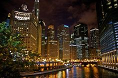 Chicago Photography - Chicago River at Night  - Original Signed, Matted Photograph