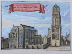 "Nederland, Utrecht; P. Devel - L'Eglise Metropolitaine de Saint Martin a Utrecht - ca. 1700. Kopergravure verschenen in ""Les Délices des Pays bas"", ca. 1700."