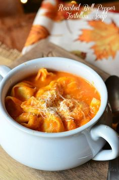 Roasted Bell Pepper Tortellini Soup. Amazing comfort soup for any chilly night. Roasted Bell Pepper Soup made with addition of three cheese tortellini and great flavors of freshly roasted bell peppers and garlic. | from willcookforsmiles.com