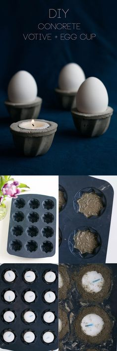Crafts - DIY Concrete Votive and Egg Cup Step-by-Step Tutorial Cement Art, Concrete Cement, Concrete Furniture, Concrete Crafts, Concrete Projects, Concrete Design, Papercrete, Beton Diy, Diy Candle Holders