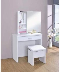 Shop Coaster Company Glossy White Contemporary Vanity and Stool Set - - On Sale - Overstock - 12225006 Vanity Stool, Vanity Set With Mirror, Contemporary Vanity, White Vanity, Furniture, Storage Mirror, Upholstered Stool, Vanity Table Set, Modern Style Bedroom
