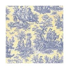 yellow and blue toile fabric -