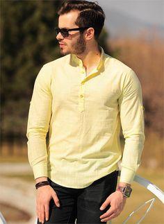 Erkek Gömlek 735 Sarı | Modelleri ve Uygun Fiyat Avantajıyla | Modabenle