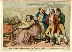 """A grotesquely fat woman, much decolletee, sits at a piano (left) singing and playing, her left foot on the pedal. With upturned eyes and gaping mouth she sings: """"Just like love . . ."""" [three times]. Her music book is open at: 'Just like Love a Favorite Song Sung by Mr Braham'. A fat man in old-fashioned dress, standing just behind her, his hands raised in surprise, turns to address two younger men who are fashionably dressed. He asks: """"Don't my Lady play and Sing delightfully? she was…"""