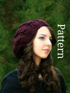Knit Cable Hat Knitting Pattern - Knit Slouch Hat Pattern - Knit Hat Knitting pattern PDF - Cable Knitting Pattern - Instant Download