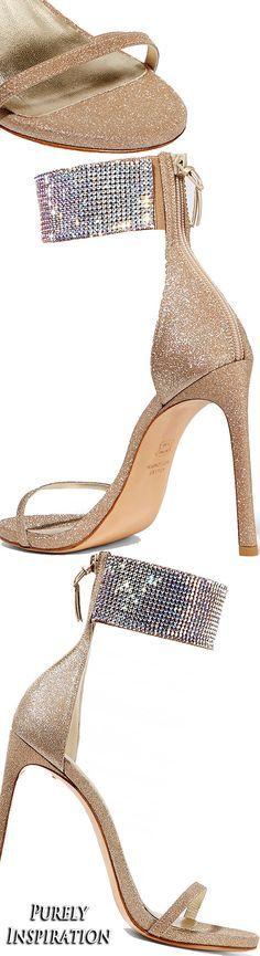 Stuart Weitzman Cufflove glittered mesh sandals | Purely Inspiration