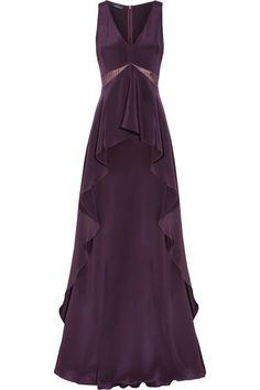 Amanda Wakeley   Ruffled silk-cady and chiffon gown