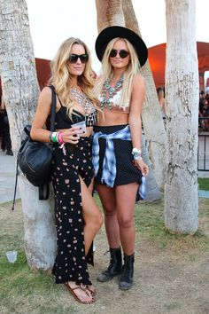 Pin for Later: All the Coachella Street Style You Have to See Whether it be a slitted skirt or a polka-dot mini, these ladies prove bralettes should be worn with statement necklaces at a festival. Coachella Fashion 2015, Boho Festival Fashion, Coachella Festival, Festival Outfits, Boho Fashion, Fashion Outfits, Coachella Style, Festival Style, Fashion Ideas