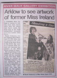 "FROM THE ARCHIVES:  Regional coverage from 2007 in the Wicklow Times of Nuala Holloway exhibiting her work and helping with the launch of an art gallery in Arklow, Co. Wicklow"". #NualaHolloway #Art #IrishArt #MissIreland"
