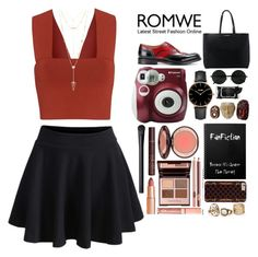 """""""black skirt with red top"""" by rputriwidyastri ❤ liked on Polyvore featuring A.L.C., House of Harlow 1960, Church's, MANGO, CLUSE, Polaroid, Boscia and NARS Cosmetics"""