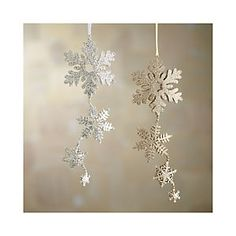 Glitter Hinged Triple Snowflake Ornaments