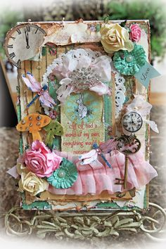 Scraps of Elegance scrapbook kits - Chasing Rabbits kit - shabby chic altered Tim Holtz Configuration Book Box with an Alice in Wonderland theme by Renea Harrison Tim Holtz, Alice In Wonderland Crafts, Damask Stencil, Pink Acrylics, Altered Books, Altered Art, Memory Books, Box Frames, Paper Crafts