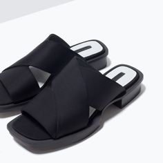 New Zara Black Satin Sandals