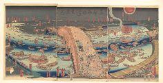 Utagawa (Gountei) Sadahide (Japanese, 1807–1878/79). Panoramic View of Ryōgoku Bridge in the Summer, 19th century. The Metropolitan Museum of Art, New York. Bequest of William S. Lieberman, 2005 (2007.49.294a–c)