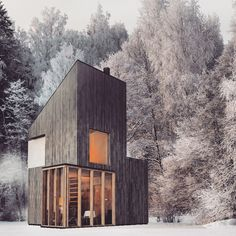 """Armin Mešic, principal of FO4A Architecture, designed this modern wooden shelter to serve as a ski hut or a weekend retreat. With a floor area of 258 square feet (24sqm), it is to be built on Bjelašnica, a mountain in central Bosnia and Herzegovina. A Modern Winter Shelter by FO4A Architecture: """"The main idea of the project was to design an object with minimum dimensions serving as both shelter from.."""