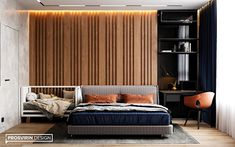 Accent wall in the bedroom interior Bedroom Bed Design, Home Bedroom, Modern Bedroom, Bedroom Wall, Bedroom Decor, Study Table Designs, Apartment Interior, Luxurious Bedrooms, New Room