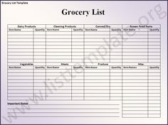 Grocery List Template  Note Before Downloading Or Using Any