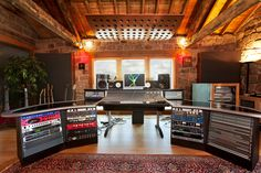 The ultimate home recording studio equipment site. Great deals and huge selection of home recording studio equipment. Home Studio Musik, Music Studio Room, Audio Studio, Sound Studio, Studio Setup, Studio Ideas, Studio Design, Recording Studio Desk, Studio Equipment
