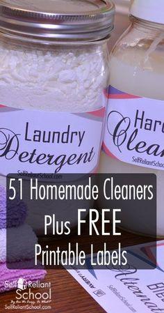 51 Homemade Cleaners Plus Free Printable Labels~SelfReliantSchool.com