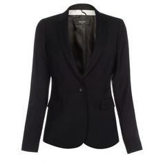 Paul Smith Women's Jackets - Black Wool Jacket With Miami Floral Detail
