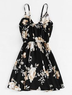 Shop Floral Print Random Surplice Cami Dress at ROMWE, discover more fashion styles online. Cute Girl Outfits, Cute Casual Outfits, Outfits For Teens, Casual Dresses, Fashion Dresses, Summer Dresses, Floral Dresses, Mode Rockabilly, Winter Date Night Outfits