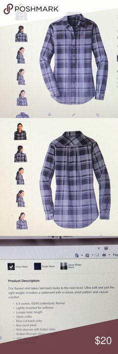 Plaid Flannel Shirt Port Authority Ladies Plaid Flannel Shirt.  Size Medium.  Overstock from the holidays and clearing at wholesale price.  New without tags.  (Last photo is the actual item you will receive - the computer screen shot photo does not show accurate color.) Port Authority Tops Button Down Shirts