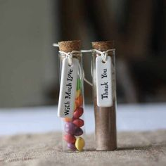 Top 10 Wedding Favour Bags, Boxes and Bottles: use test tubes for favour containers - available from www.theweddingofmydreams.co.uk @theweddingomd