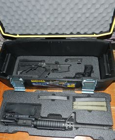 Custom foam in a Stanley FatMax toolbox for a Smith and Wesson M&P 15 and a Beretta Ammo Storage, Safe Storage, Storage Ideas, M&p 15, Voodoo Tactical, Pelican Case, Range Bag, Gun Cases, Custom Guns